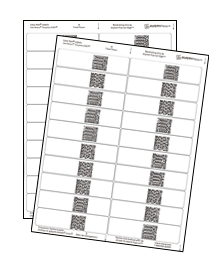 two sheets of printed labels