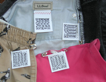Laundry, showing labels attached with Safety pins